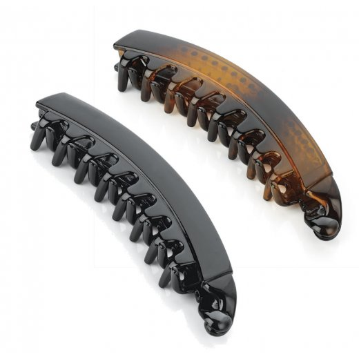 Amber Jewellery 13cm Spring Lock Banana Hair Clip Grip Slide Hair Accessory - Black or Brown
