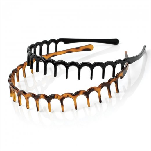 Amber Jewellery 2 Piece Black & Brown Tooth Design Headband Hair Accessory Set - Ha 26019