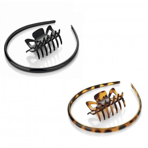 Amber Jewellery 2 Piece Black Or Tortoiseshell Brown Claw Clip & Headband Hair Accessory Set