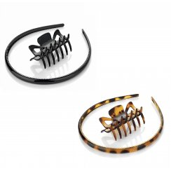 2 Piece Black Or Tortoiseshell Brown Claw Clip & Headband Hair Accessory Set