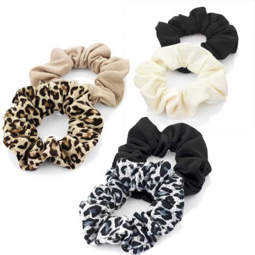 Amber Jewellery 2 Piece Elasticated Black Brown Cream Animal Print Hair Scrunchie Accessory Set