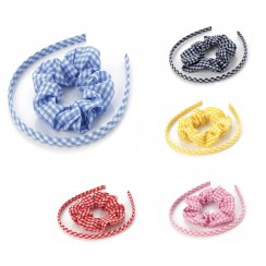 2 Piece Gingham Headband & Scrunchy Hair Accessory Set