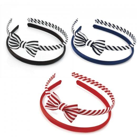 Amber Jewellery 2 Piece Striped Bow & Plain Headband Hair Accessory Set