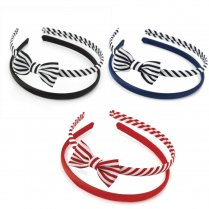 2 Piece Striped Bow & Plain Headband Hair Accessory Set