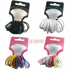 24pc Thin Hair Bands Elastics Hairband Bobbles- White, Black