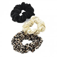 3 Piece Animal Print, Black, Gold Elasticated Hair Scrunchie Accessory Set 27562