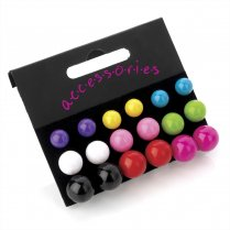 9 Pairs Multi Coloured Stud Earring Set - Er20687