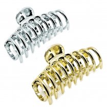 9cm Curved Shape Hair Claw Clip Clamp - Silver or Gold