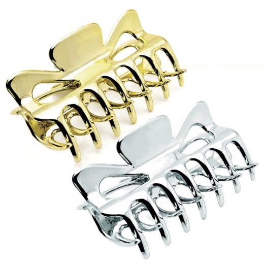 Amber Jewellery 9cm Square Shape Hair Claw Clip Clamp - Silver or Gold