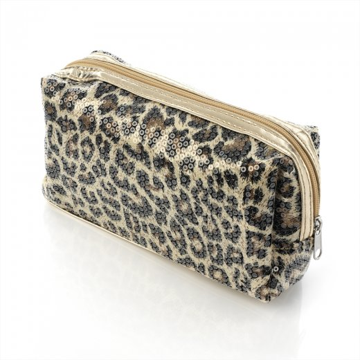 Amber Jewellery Animal Print  Design Sequin Zip Close Make Up / Cosmetic Bag - Pc24335