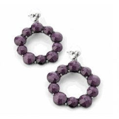 Burn Silver Purple Round Earrings - Er13712