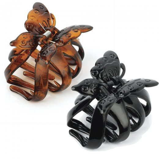 Amber Jewellery Butterfly Hair Claw Clip Clamp Hair Accessory - 7.5cm - Black Or Brown