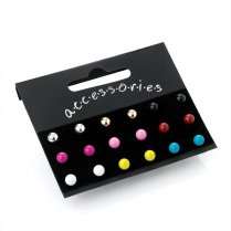 Nine Pairs Assorted Colour 5mm Stud Earrings ER21970
