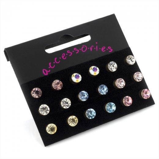 Amber Jewellery Nine Pairs Assorted Colour 6mm Crystal Stud Earrings ER20689