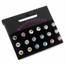 Nine Pairs Assorted Colour 6mm Crystal Stud Earrings ER20689