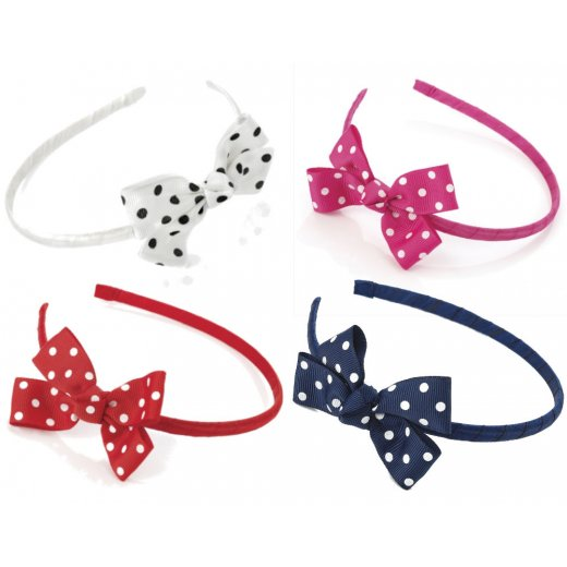 Amber Jewellery Polka Dot Bow Headband Alice Band Hairband Hair Accessory