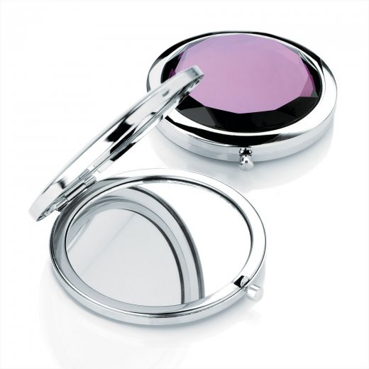 Amber Jewellery Shiny Rhodium & Purple Colour Compact Mirror