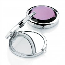 Shiny Rhodium & Purple Colour Compact Mirror