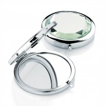 Shiny Rhodium & Transparent Crystal Colour Compact Mirror