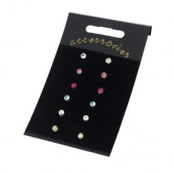 Six Pairs Assorted Colour 4mm Stud Earrings ER13869