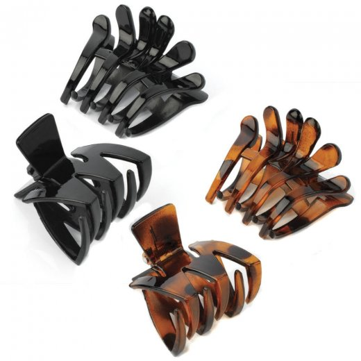 Amber Jewellery Two Piece Claw Clip Hair Accessory Set - Black or Brown
