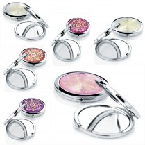 Womens Ladies Silver Tone Handbag Compact Mirror - Choose Your Design