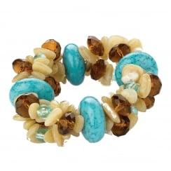 Brown / Turquoise Look Bead Elasticated Bracelet - 23188