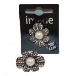 Flower & Pearl Adjustable Ring
