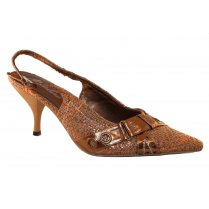 Ladies Gold Strapped Fashion Heels By Metaline