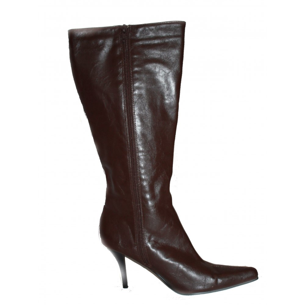 Ladies Brown High Heel Point Boots By Leggsy
