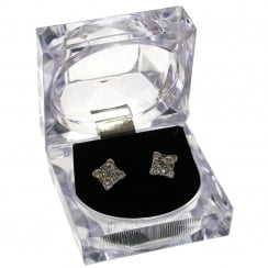 Silver / Crystal Square Stud Earrings In Presentation Box - Er 01019